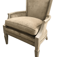 French Bergere Chair Gray Side High End 20th Century Frame Decaso For Sale