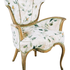 Floral Upholstered Chair Dining Room Table With Bench And Chairs French Shell Back Arm Chairish For Sale