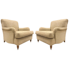 Oversized Upholstered Chair Unfinished Wooden Chairs Uk Exquisite Pair Of English Lounge Decaso For Sale