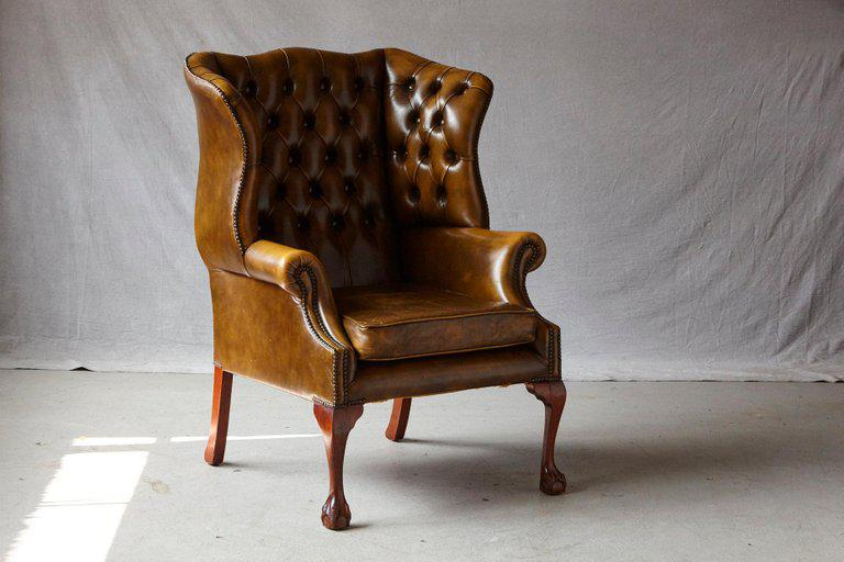 traditional leather wingback chair wheelchair size superb buckingham walnut burnished by hancock english moore for sale image