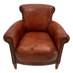 Art Deco Style Club Chairs Space Saver Dining Table And French Library Leather Chair With Nailhead Details For Sale