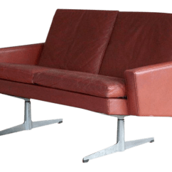 Red Leather Two Seater Sofa Sofaer Global Mba Hans Wegner Style Danish 1960s Seat Airport In For Sale