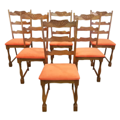 Vintage Wooden Dining Chairs Black And White Chair Used Oak Chairish Set Of Six French Newly Upholstered Coral Velvet Ladderback