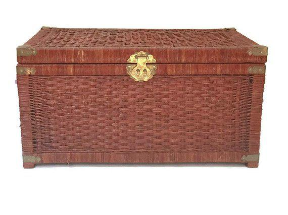 vintage rattan trunk woven wicker blanket chest chinese brass hardware 32