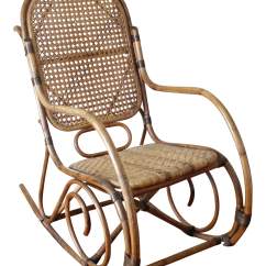 Bent Wood Rocking Chair Modern Leather Swivel Lounge Mid Century Vintage Cane Rattan Chairish For Sale
