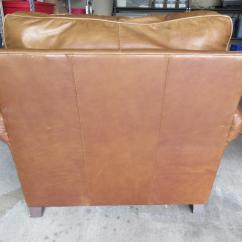 Bernhardt Brown Leather Club Chair Two Person Camping Modern Light Ottoman Chairish For Sale Image 4 Of