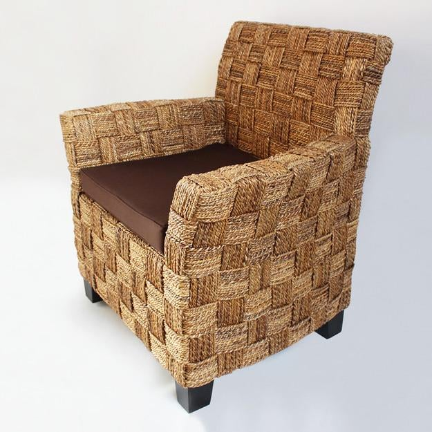 seagrass arm chair rattan peacock rope w brown cushion chairish with this is perfect for a sunroom or