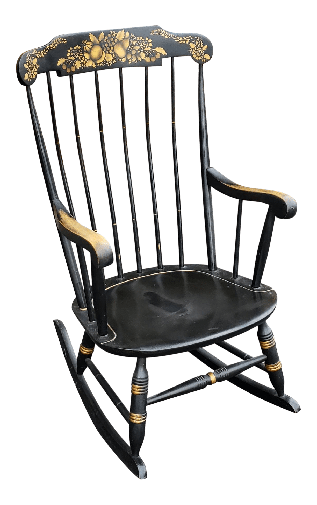 black rocking chairs best affordable office chair 2018 vintage used rustic chairish 1970s hitchcock style painted nichols stone co rocker