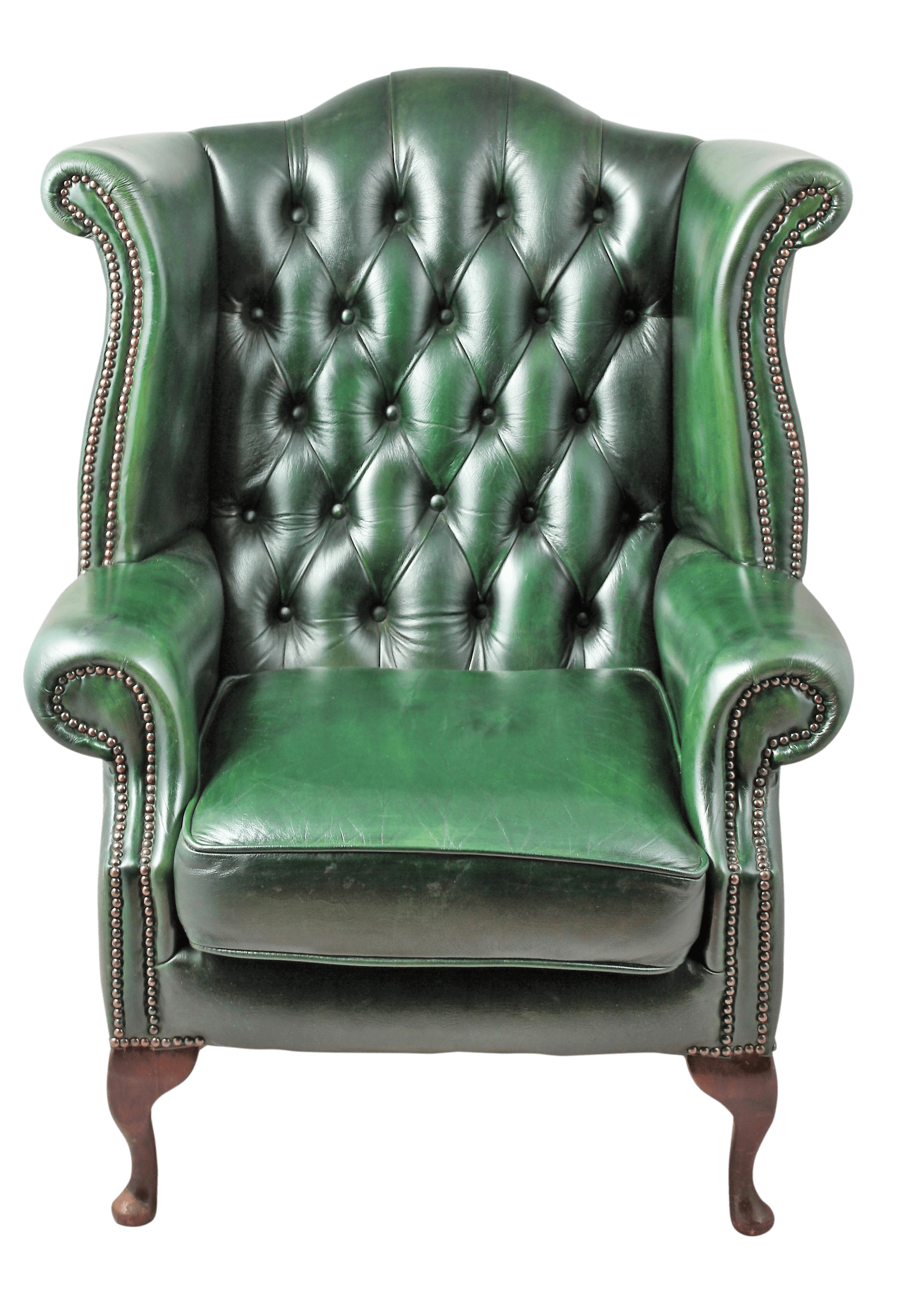 traditional leather wingback chair baby high swing combo 1900s english green tufted chairish