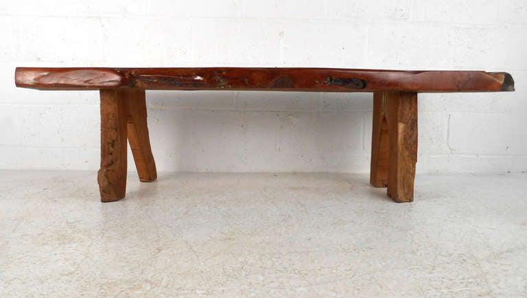 mid century rustic wood slab coffee table