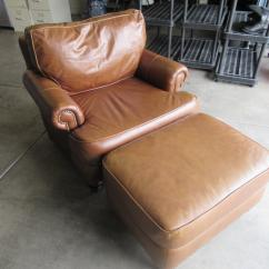 Bernhardt Brown Leather Club Chair Curved Dining Chairs Modern Light Ottoman Chairish 2000s For Sale Image 5 Of