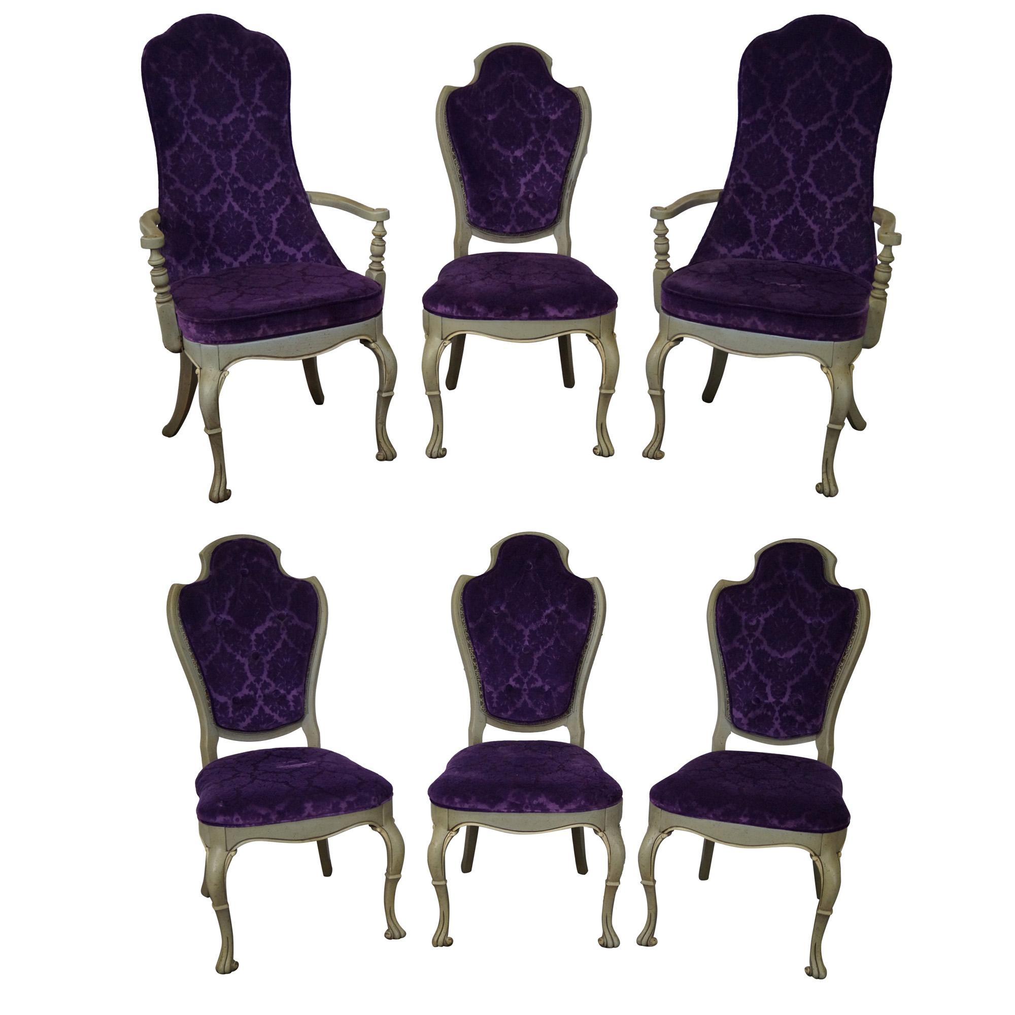 purple upholstered dining chairs gold universal chair covers vintage 1950s set of 6 chairish