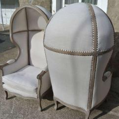 French Canopy Chair Steel Fabrication Distinguished Pair Of White Linen Hood Bishops Chairs Beautiful Rustic Bishop S Faded Wood Frame With Newly Reupholstered