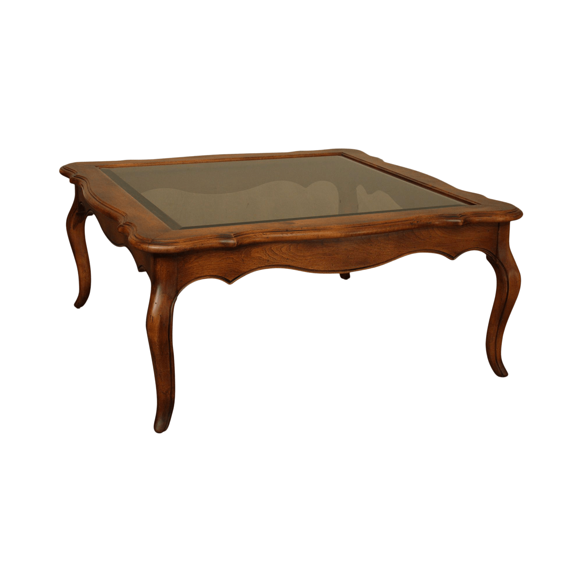 ethan allen country french solid maple square glass top coffee table