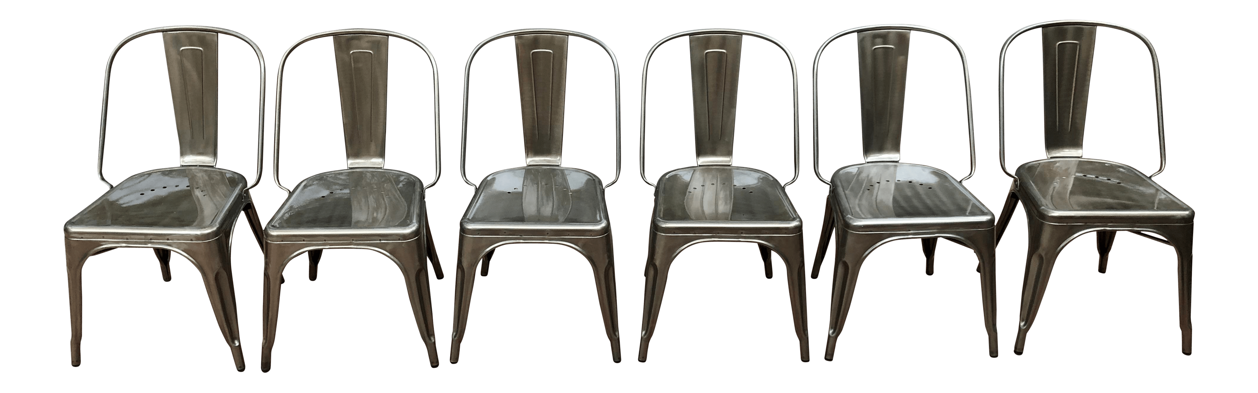 industrial bistro chairs leather chair ottoman set tolix style marais of 6 chairish