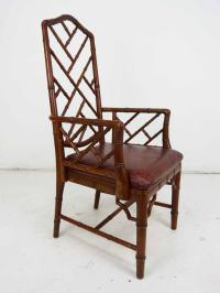 Old Chinese Chippendale Bamboo Arm Chair | Chairish