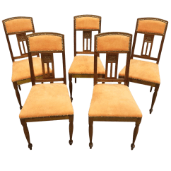 Vintage Wooden Dining Chairs Chair Covers To Buy In Uk Used Oak Chairish Gorgeous Set Of 5 French Peach