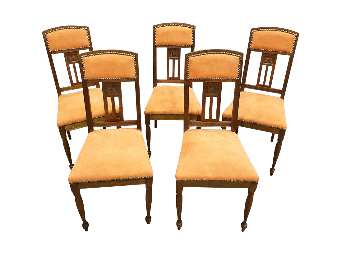 vintage oak dining chairs my little pony table and b m used chairish gorgeous set of 5 french reupholstered in peach