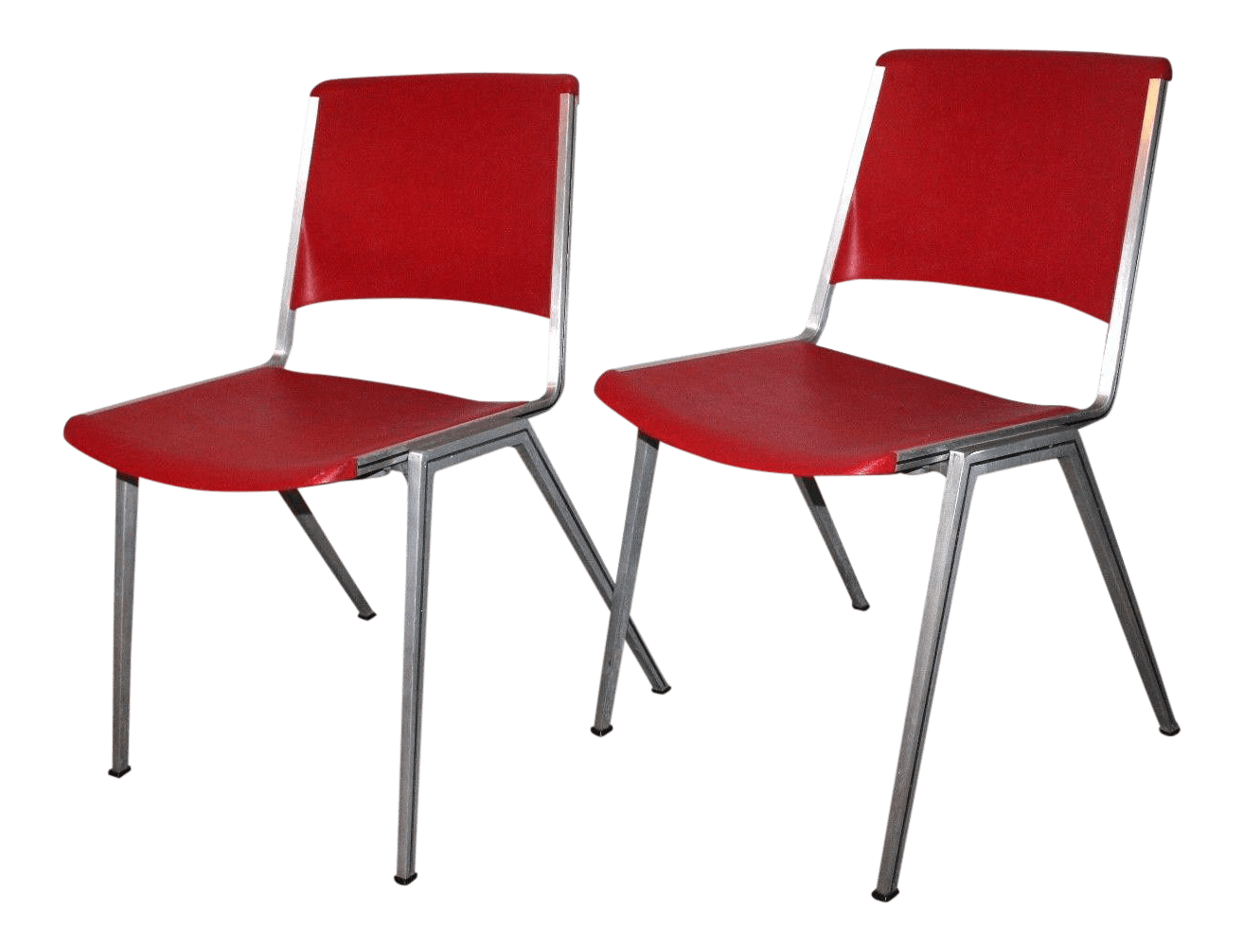 mid century modern plastic chairs evac chair 300h mk4 1960s steelcase stackable red a pair for sale