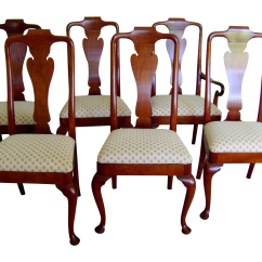 Baker Tufted Dining Chairs Rattan Side Chair Queen Anne Style By Set Of 6 Chairish For Sale