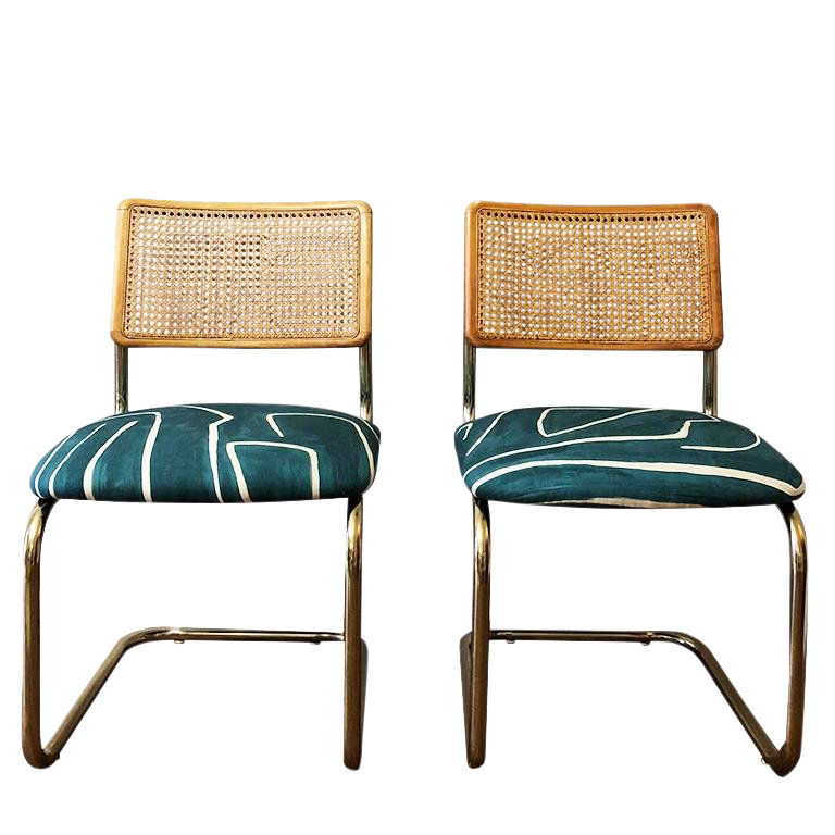 cane back chairs for sale swivel chair footstool vintage mid century blue wearstler channel print a pair