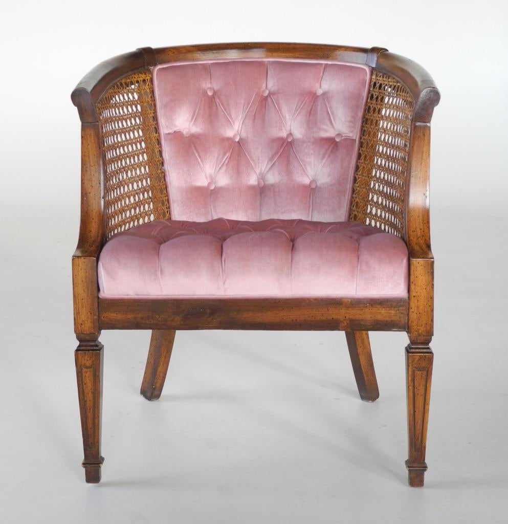 mid century modern cane barrel chairs office max weight 150kg french provincial tufted chair chairish beautiful with original back in a
