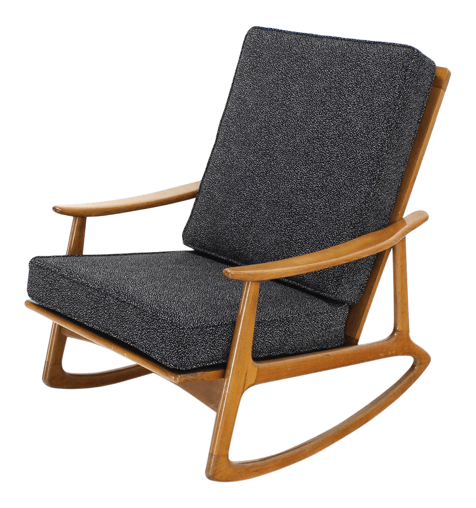 danish modern rocking chair mauve bedroom incredible lounge new upholstery decaso for sale
