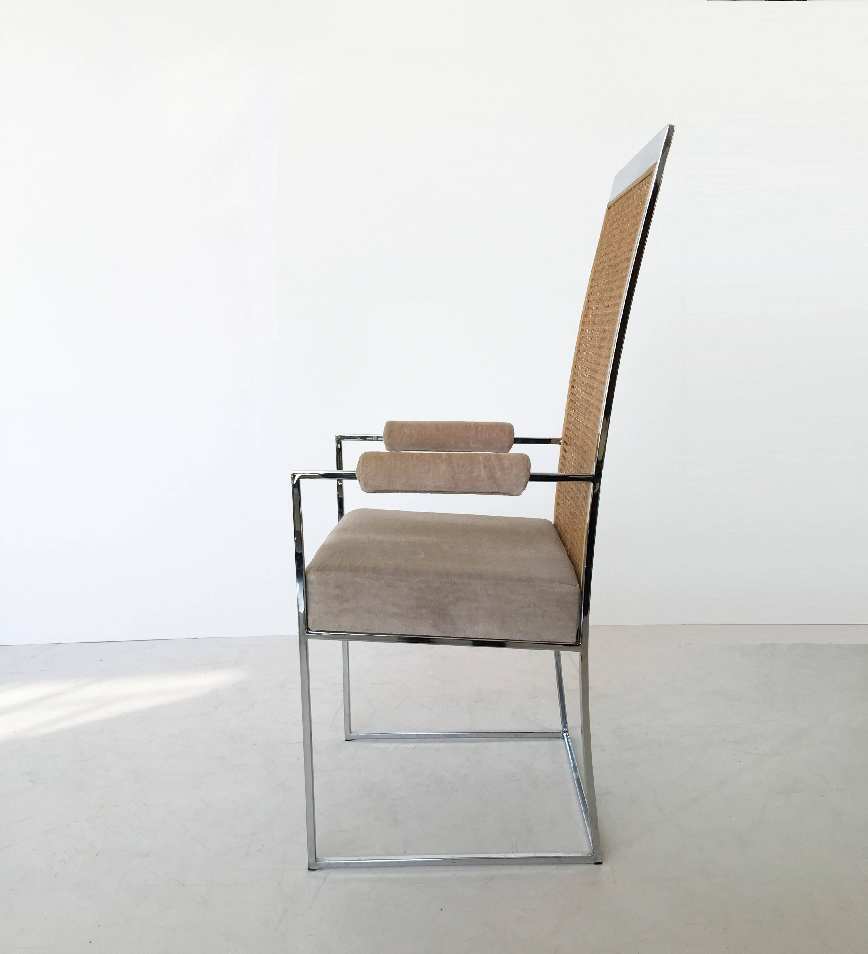 milo baughman dining chairs high canada reviews exquisite set of six back cane by 1970s for thayer coggin