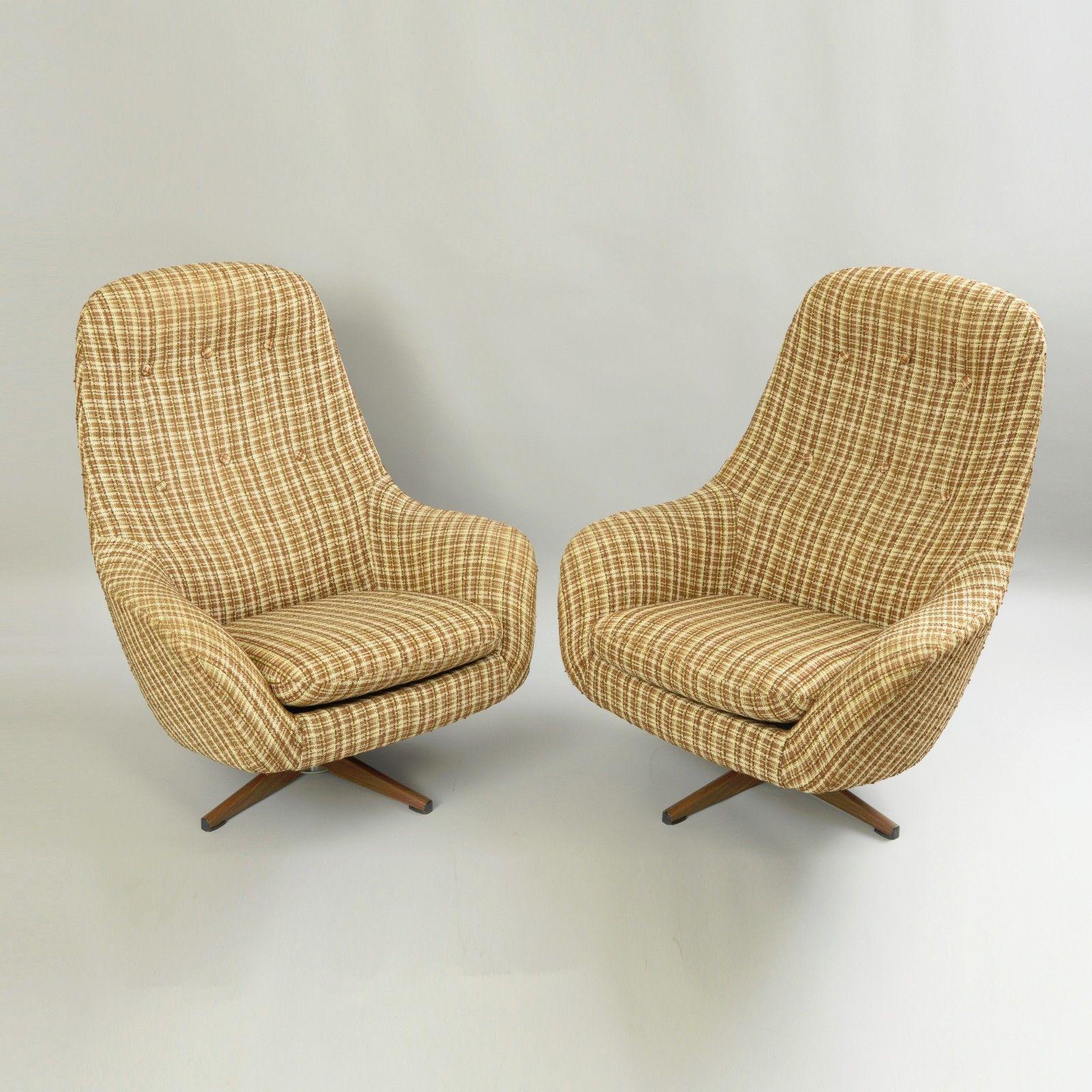 swivel pod chair ikea papasan vintage pair of swedfurn mid century modern lounge chairs metal overman style for sale