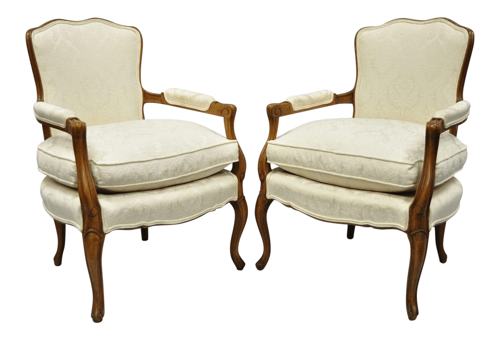 country french chairs upholstered chromcraft table and louis xv style fauteuil armchairs white a pair for sale
