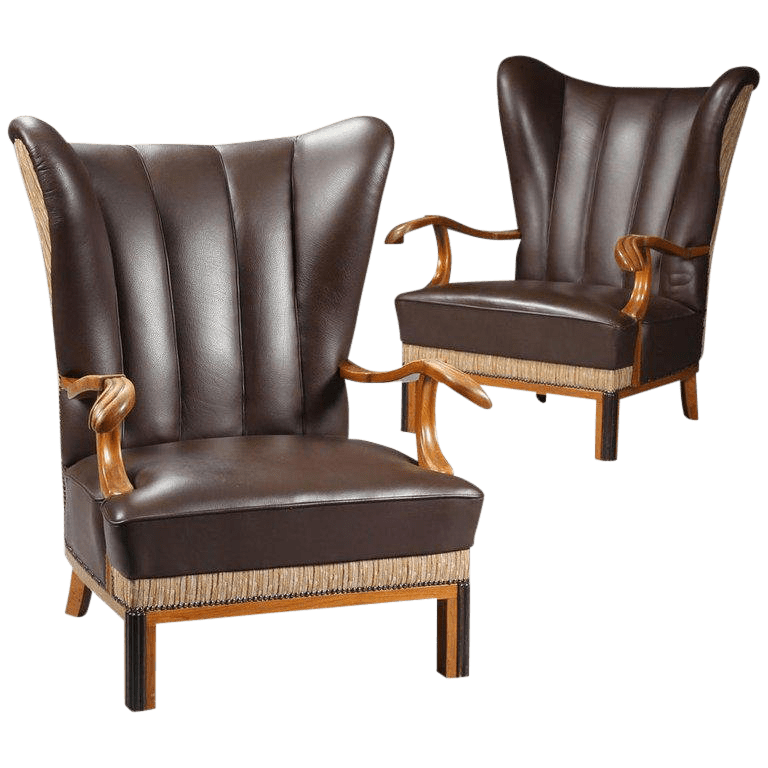 leather wing chairs sling chair patio furniture 1940s vintage danish wingback a pair chairish for sale