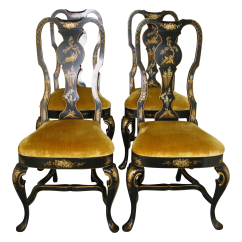 Queen Anne Style Chairs Chair With Desk Attached Uk Chinoiserie Set Of 4 Chairish