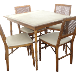Folding Card Table And Chairs Chair Design Website Stakmore Furniture Faux Bamboo Chairish For Sale