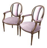 Vintage Baker Furniture French Provincial Purple Striped Arm Chairs A Pair Chairish
