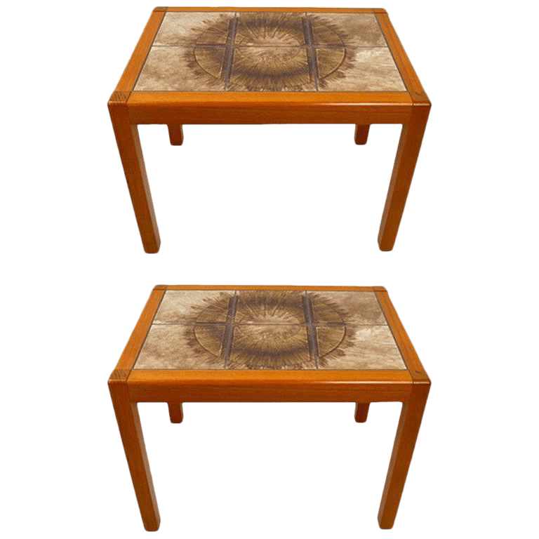 pair of danish modern tile top tables