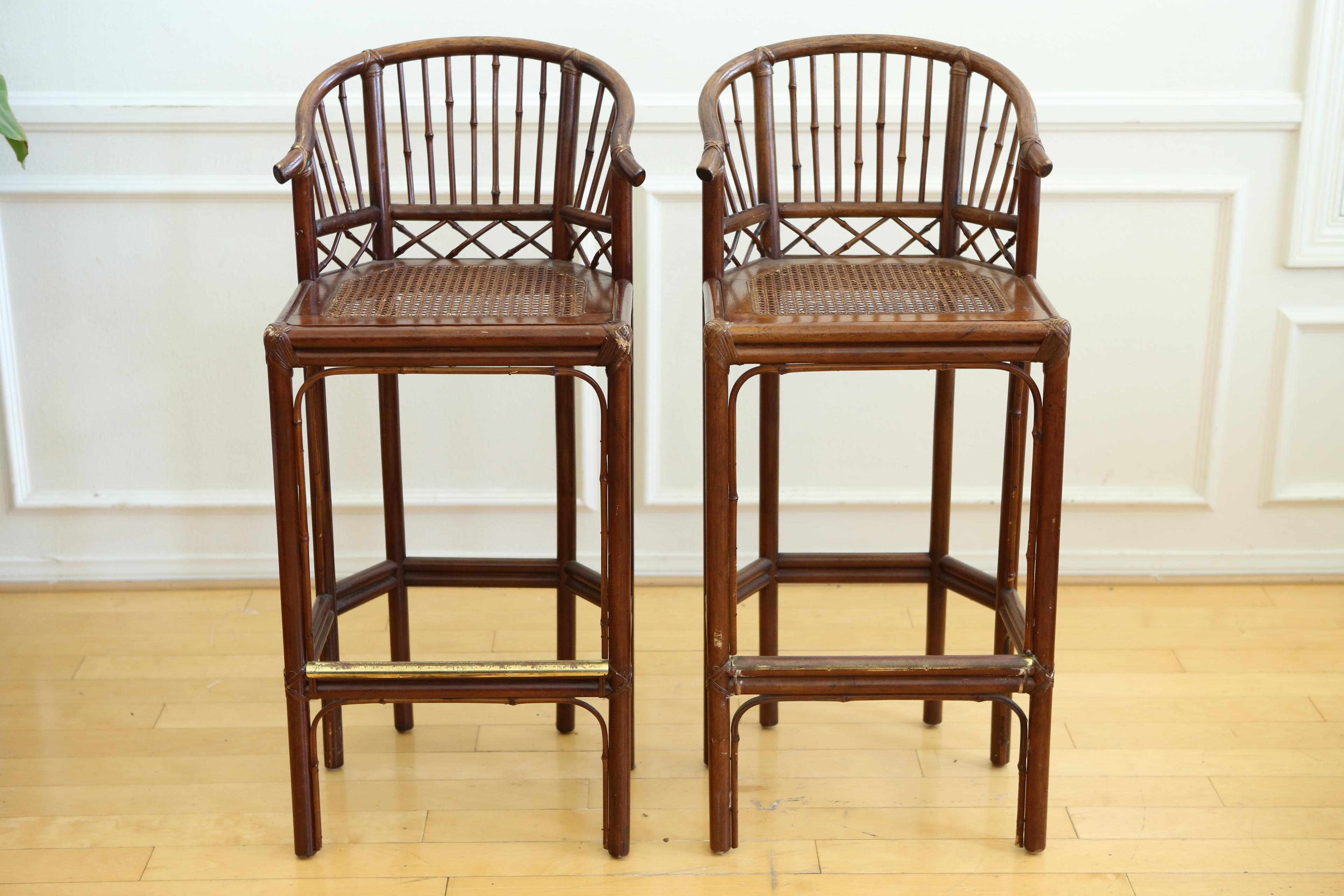 stool chair in chinese horse rocking plans tortoise shell bamboo bar chairs a pair chairish of unusual circa 1980 they feature