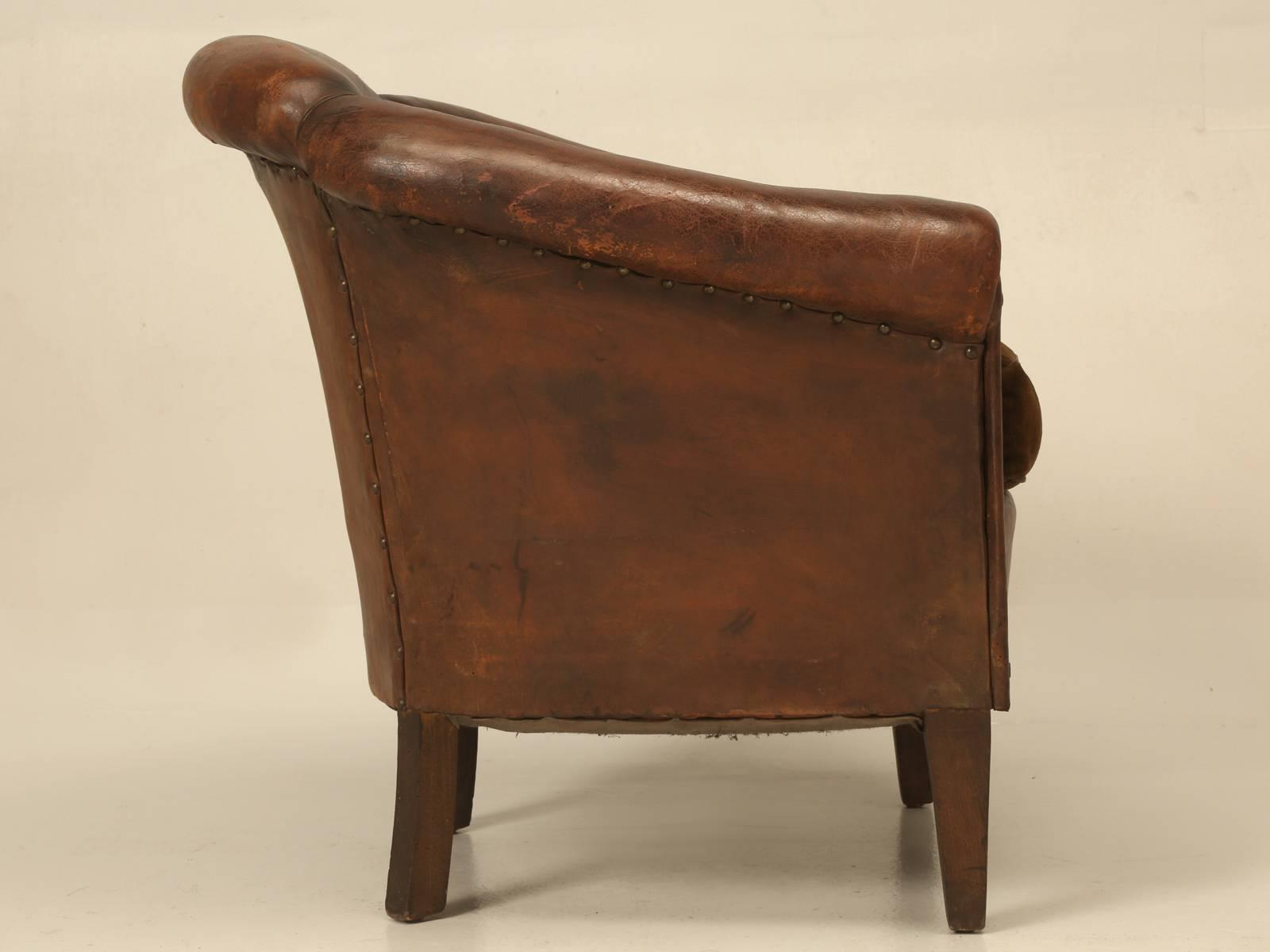 barrel back chair accent recliner excellent french leather barrelback decaso animal skin for sale image 7 of 10