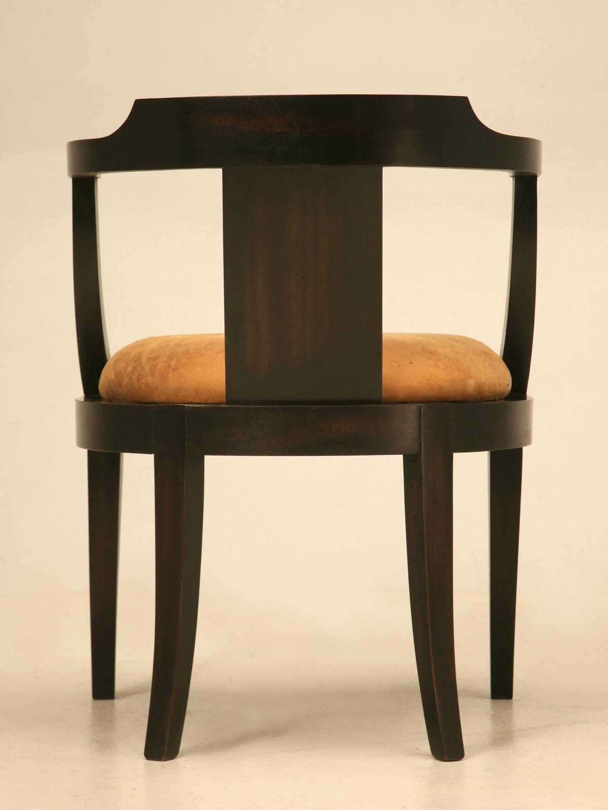 antique mahogany office chair teal upholstered dining chairs fine french ebonized desk with a leather seat cushion for sale image 10