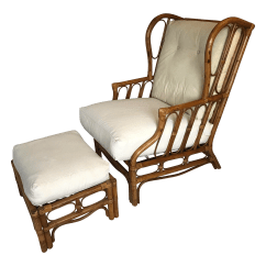 Rattan Wingback Chairs Baby Travel Chair Vintage Ottoman A Pair Chairish For Sale