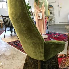 High Backed Chair Steel 3 In One Adrian Pearsall Green Velvet Back Chairish Newly Reupholstered Asparagus Perfect Living Or Dining Room