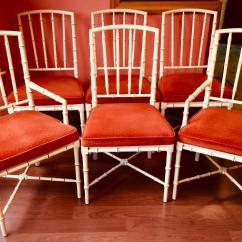 Drexel Heritage Chairs Rocking Reclining Chair Vintage Mid Century Hollywood Regency Faux Bamboo Set Of 6 For Sale