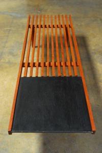 Mid-Century Modern Low Slat Bench Coffee Table | Chairish