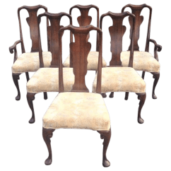 Queen Anne Style Chairs Office Chair For Bad Back Cherry Dining By Baker Set Of 6 Chairish Sale