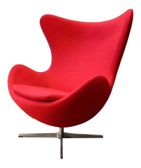 mid century egg chair reupholster seat arne jacobsen style modern red chairish for sale