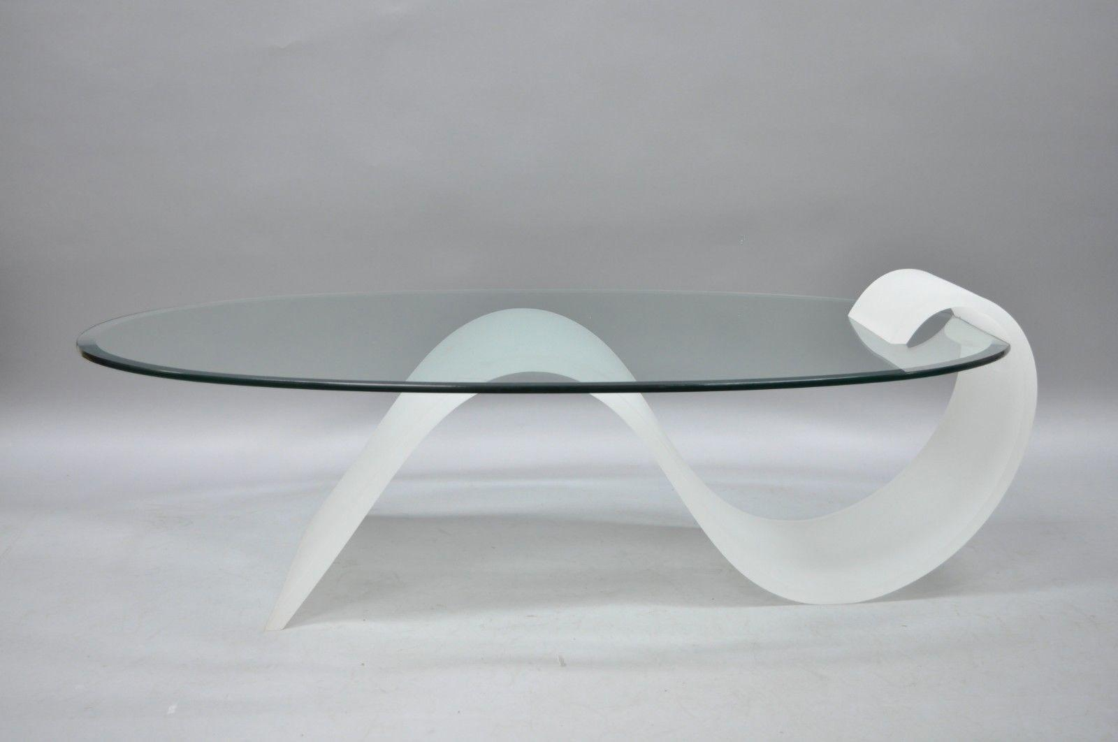 1970s mid century modern lucite and oval glass s shaped cantilever coffee table