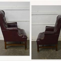 Oxblood Leather Wing Chair The Vacant Poem Chippendale Style Tufted By Hickory For Sale Image 3 Of