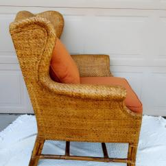 Rattan Wingback Chairs Teal Folding Chair Vintage Baker Furniture Chairish Company For Sale Image 4 Of 8