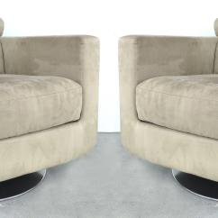 Natuzzi Swivel Chair Rocking Pads Italian Ultra Suede Club Chairs By Salotti A Pair For Sale