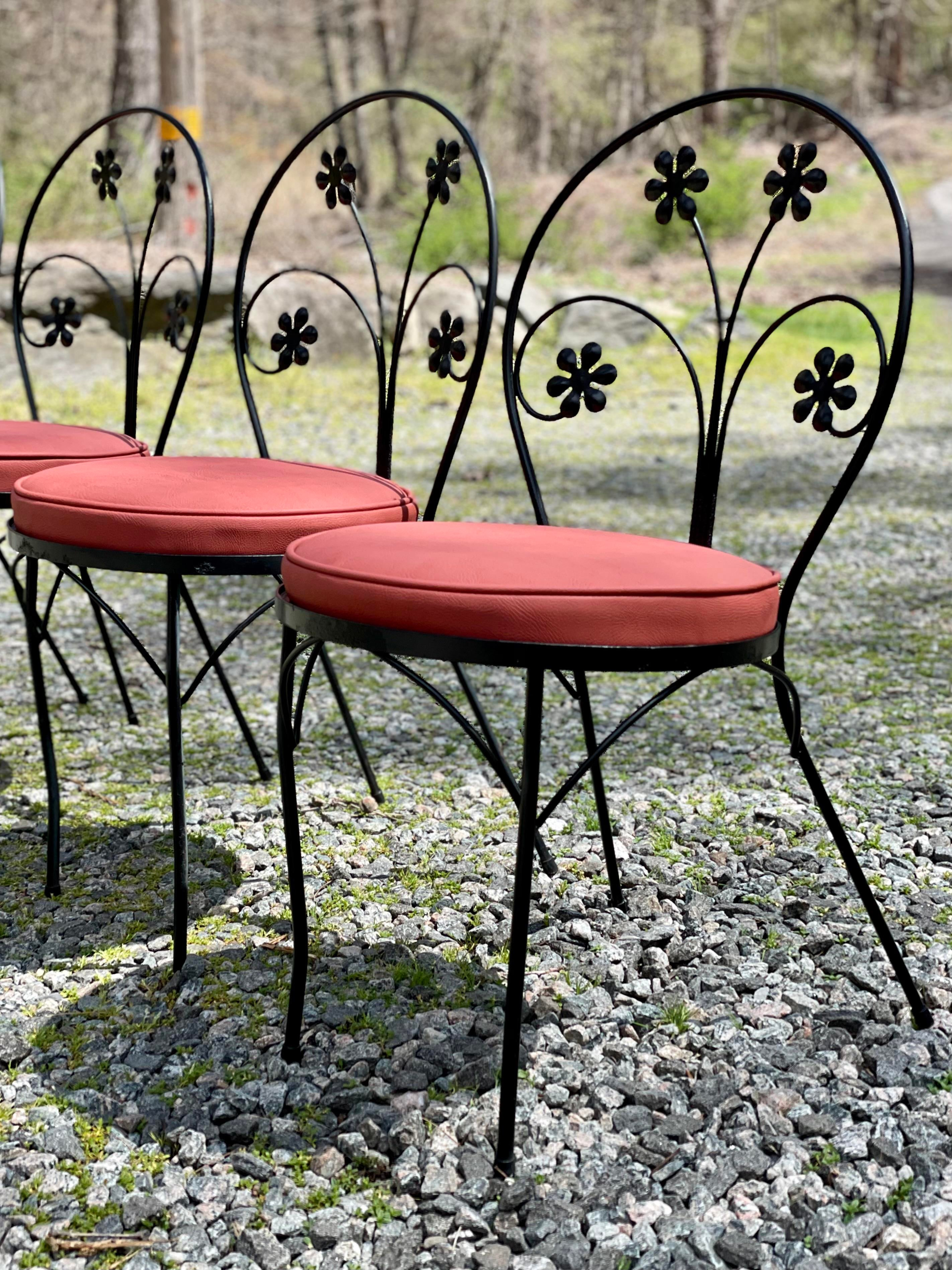 vintage wrought iron daisy flower parlor patio chairs by plantation patterns restored