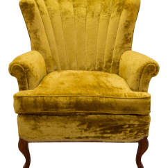 Crushed Velvet Chair All Modern Leather Dining Vintage Golden Wing Back Chairish For Sale